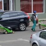 la coasă pe asfalt