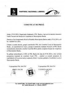 COMUNICAT DE PRESA PNL BACAU 07.01.2016